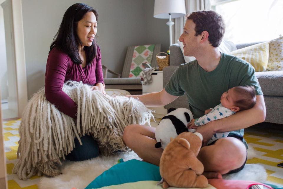 Mark Zuckerberg, with wife Priscilla Chan and daughter Max.