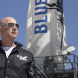 Jeff Bezos, founder of Blue Origin, inspects New Shepard's West Texas launch facility before the rocket's maiden voyage.