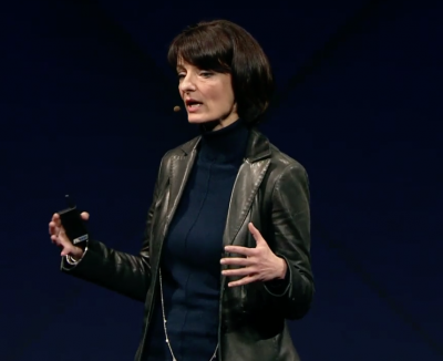 Regina Dugan speaks Wednesday at Facebook's annual developer conference in San Jose, Calif.