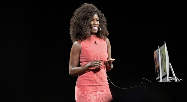 Bozoma Saint John demonstrates updates to Apple Music in this 2016 file photo.