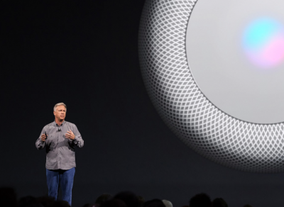 Phil Schiller announces HomePod: the Apple-designed speaker.