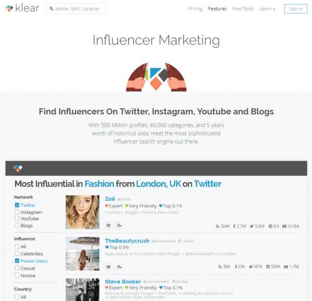 Search on Klear demonstrating social media monitoring, competitor analysis, and influencer marketing insights