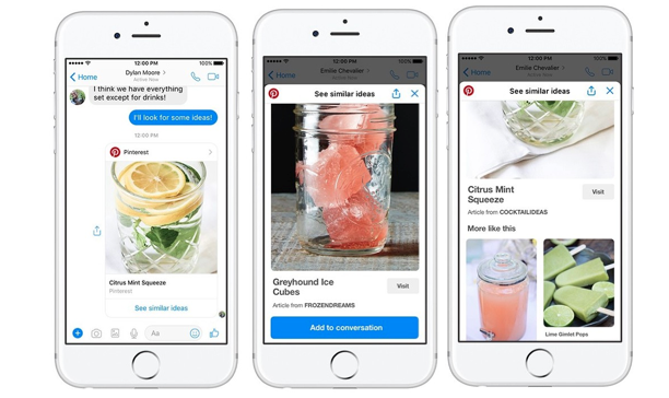 Pinterest Debuts Chat Extension, Bot for Facebook Messenger