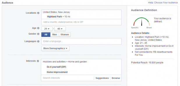 How to promote your local business via facebook ads sitepronews select the location in which you want your ad to be displayed the age of your target persona and the language that your prospects speak solutioingenieria Choice Image