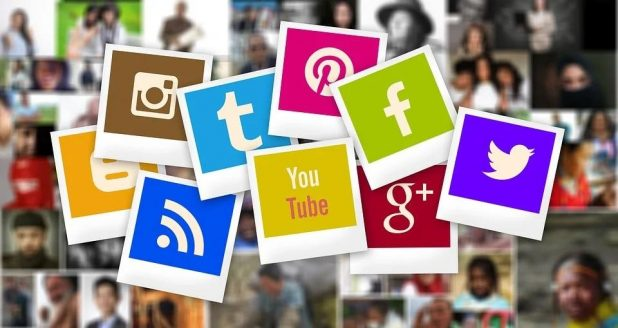 A collage of photographs of various social media icons