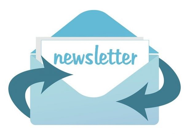 """A graphic of an envelope with the word """"newsletter"""" on it."""