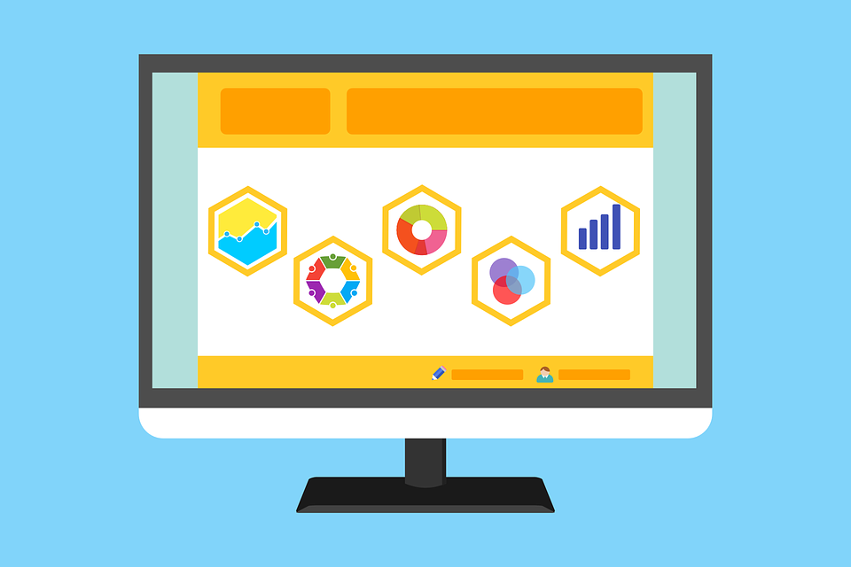 A vector image of a computer screen displaying graphs and pie charts.
